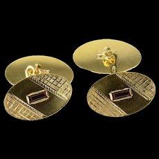 18K Emerald Cut Syn. Ruby Retro Oval Men's Cuff Links Yellow Gold [CQXK]