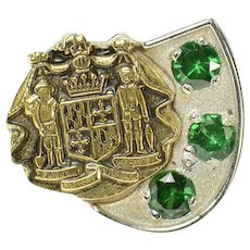 10K Maryland Coat of Arms Syn. Emerald Lapel Pin/Brooch Yellow Gold [CQXQ]