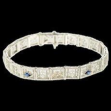 "14K Art Deco Filigree Diamond Syn Sapphire Bracelet 6.75"" White Gold [CQXS]"