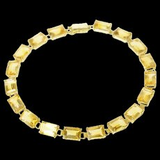 "14K Emerald Cut Citrine Link Statement Bracelet 7"" Yellow Gold [CQXS]"