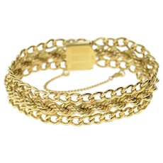 Gold Filled 16.0mm Thick Retro Curb Rope Chain Charm Bracelet 6.75'  [CXQC]