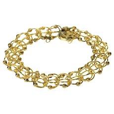 """Gold Filled 13.4mm Retro Dot Accent Charm Chain Bracelet 7""""  [CQXQ]"""