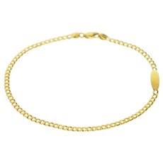 "14K 3.1mm Curb Chain Oval Engravable Anklet Bracelet 9.25"" Yellow Gold [CQXQ]"