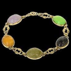 "14K Carved Jade Onyx Scarab Statement Chain Bracelet 7.5"" Yellow Gold [CQXS]"