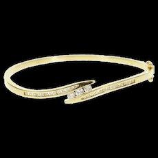 """14K 0.93 Ctw Diamond Channel Bypass Bangle Bracelet 7"""" Yellow Gold [CQXS]"""