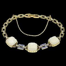 "14K Art Deco Camphor Glass Syn. Sapphire Statement Bracelet 7.5"" Yellow Gold [CQXS]"