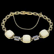 "14K Art Deco Camphor Glass Syn. Sapphire Statement Bracelet 7.5"" Yellow Gold [CQXQ]"