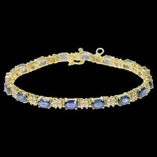 "14K Natural Oval Sapphire Diamond Statement Tennis Bracelet 7.25"" Yellow Gold [CQXS]"