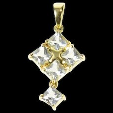 14K Square Princess Blue Topaz Cluster Statement Pendant Yellow Gold [CQXQ]
