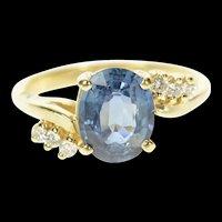 14K Three Stone Blue Topaz Wavy Bypass Ring Size 5.5 Yellow Gold [CQXS]