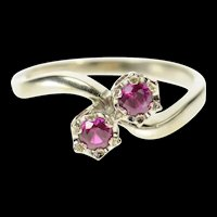 14K Retro 1960's Syn. Ruby Bypass Statement Ring Size 8.25 White Gold [CQXS]