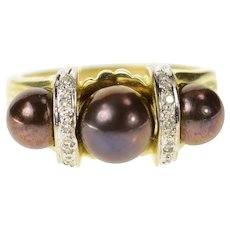 14K Three Stone Burgundy Pearl Diamond Statement Ring Size 9 Yellow Gold [CQXQ]