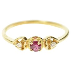 14K Three Stone Diamond Ruby Childs Ring Size 3.75 Yellow Gold [CQXQ]