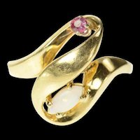 10K Marquise Opal Ruby Accent Ribbon Bypass Ring Size 5.5 Yellow Gold [CQXS]