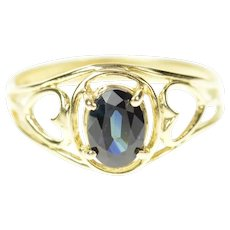 14K Oval Natural Sapphire Scroll Statement Ring Size 7 Yellow Gold [CQXQ]