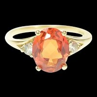 10K Oval Syn. Mexican Fire Opal CZ Accent Ring Size 7 Yellow Gold [CQXS]