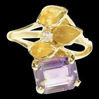 14K Amethyst Emerald Cut Leaf Design Diamond Ring Size 5.5 Yellow Gold [CQXS]