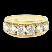 10K 1960's Cubic Zirconia Textured Statement Band Ring Size 5.75 Yellow Gold [CQXS]