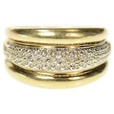 10K Two Tone Graduated Textured Diamond Band Ring Size 6.25 Yellow Gold [CQXQ]