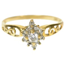 10K CZ Cluster Statement Scroll Filigree Ring Size 7.5 Yellow Gold [CQXQ]