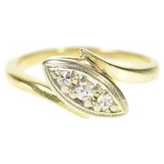 14K Three Stone 1940's Diamond Bypass Ring Size 3.5 Yellow Gold [CQXQ]