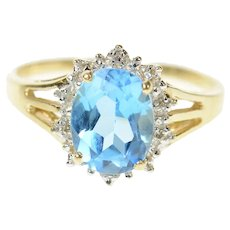 10K Classic Oval Blue Topaz Diamond Halo Ring Size 7 Yellow Gold [CQXQ]