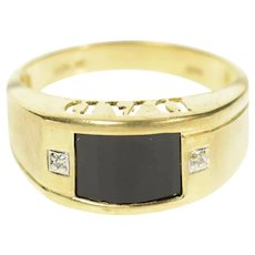 10K Men's Dad Black Onyx Diamond Graduated Ring Size 9.75 Yellow Gold [CQXQ]