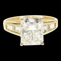 10K Emerald Cubic Zirconia Travel Engagement Ring Size 10.5 Yellow Gold [CQXS]