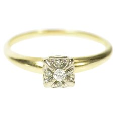 14K 1940's Diamond Squared Classic Promise Ring Size 9.75 Yellow Gold [CQXQ]