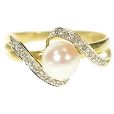 14K Pearl Diamond Wavy Accent Statement Ring Size 10 Yellow Gold [CQXQ]