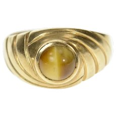 10K Round Tiger's Eye Retro Statement Swirl Ring Size 8.25 Yellow Gold [CQXQ]