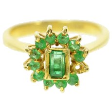 18K Natural Emerald Halo Retro Statement Cocktail Ring Size 4.5 Yellow Gold [CQXS]