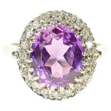 14K Oval Amethyst Diamond Halo Cocktail Ring Size 7.75 White Gold [CQXS]