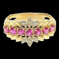 10K Retro Syn. Ruby Diamond Floral Petal Band Ring Size 9.25 Yellow Gold [CQXS]