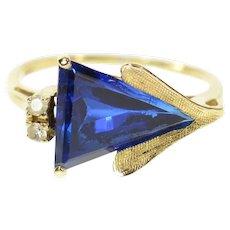 14K Trillion Syn. Sapphire Cubic Zirconia Retro Ring Size 5.5 Yellow Gold [CQXQ]