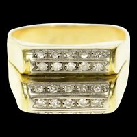 14K Rounded Tiered Pave Bar Diamond Squared Ring Size 8.25 Yellow Gold [CQXS]