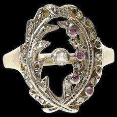 14K Victorian Diamond Ruby Wreath Oval Statement Ring Size 4.75 Yellow Gold [CQXQ]