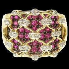 14K Ornate Diamond Ruby Lattice Statement Band Ring Size 8 Yellow Gold [CQXQ]