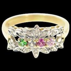 14K Retro Floral Diamond Syn. Emerald Ruby Band Ring Size 7.5 Yellow Gold [CQXQ]