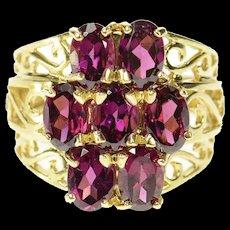 10K Tiered Oval Purple Tourmaline Scroll Filigree Ring Size 5.75 Yellow Gold [CQXQ]