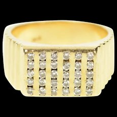 14K 0.60 Ctw Men's Squared Diamond Striped Ring Size 10.25 Yellow Gold [CQXQ]