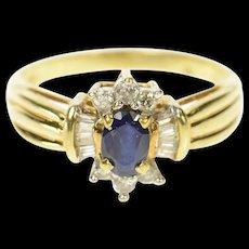 10K Oval Sapphire Baguette Diamond Halo Ring Size 7 Yellow Gold [CQXQ]