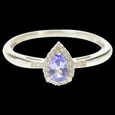 14K Pear Tanzanite Diamond Halo Statement Ring Size 8.75 White Gold [CQXQ]