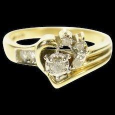 10K Heart Diamond Love Symbol Promise Bypass Ring Size 7.25 Yellow Gold [CQXQ]