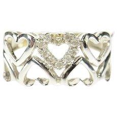 10K Heart Patterned Diamond Love Symbol Band Ring Size 6 White Gold [CQXS]