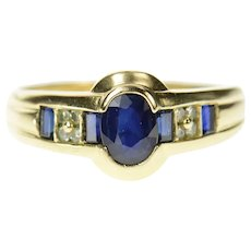 14K Oval Sapphire Baguette Accent Diamond Ring Size 9.25 Yellow Gold [CQXQ]