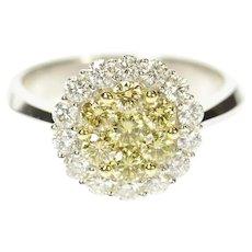 18K 0.98 Ctw Yellow & White Diamond Cluster Halo Ring Size 6.75 White Gold [CQXS]