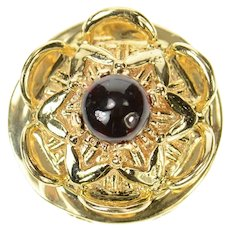 14K Ornate Floral Garnet Cabochon Slide Bracelet Charm/Pendant Yellow Gold [CQXQ]