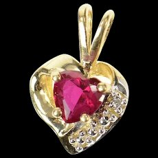 10K Heart Syn. Ruby Diamond Accent Love Symbol Pendant Yellow Gold [CQXQ]