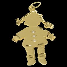 14K Diamond Inset Little Girl Child Mother's Day Charm/Pendant Yellow Gold [CQXQ]